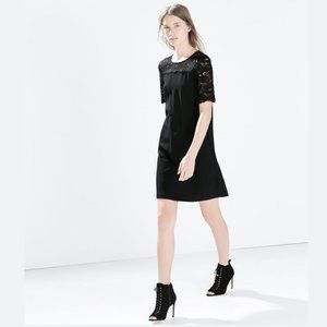 ZARA Black Guipure Yoke Shift Dress